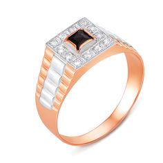 Золотой перстень-печатка в комбинированном цвете с фианитами 000137189 000137189 21 размера от Zlato