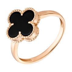 Кольцо из красного золота Клевер с черным агатом 000096050 000096050 16 размера от Zlato