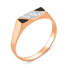 Золотое кольцо-печатка с эмалью и фианитами 000055222 000055222 18 размера от Zlato