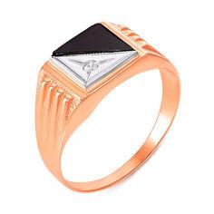 Золотой перстень-печатка в комбинированном цвете с черным ониксом и цирконием 000104114 000104114 18.5 размера от Zlato