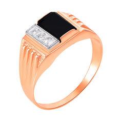 Золотой перстень-печатка в комбинированном цвете с черным ониксом и фианитами 000104113 000104113 21 размера от Zlato