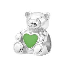 Серебряный шарм Мишка с зеленой эмалью 000116409 000116409 от Zlato
