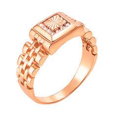Перстень-печатка из красного золота в форме часов с фианитами 000117641 000117641 19 размера от Zlato