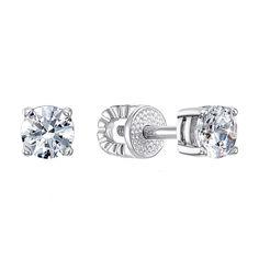 Серебряные серьги-пуссеты с цирконием Swarovski 000122197 000122197 от Zlato