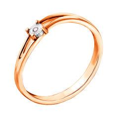 Золотое кольцо в комбинированном цвете с бриллиантом 000123039 000123039 16 размера от Zlato