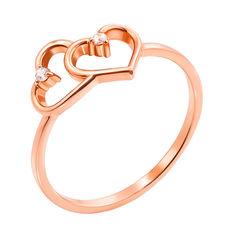 Золотое кольцо Два сердечка в красном цвете с фианитами 000129783 17 размера от Zlato
