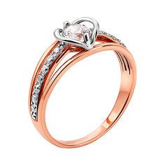 Золотое кольцо в комбинированном цвете с фианитами и родированием 000130254 18 размера от Zlato