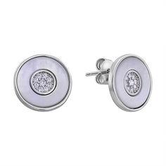 Серебряные серьги-пуссеты с перламутром и фианитами 000132625 000132625 от Zlato