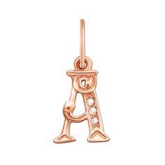 Кулон из красного золота Буква А с фианитами 000133498 000133498 от Zlato