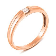 Кольцо из красного золота с бриллиантом 000136875 000136875 17.5 размера от Zlato