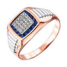Золотой перстень-печатка в комбинированном цвете с синими и белыми фианитами 000137765 000137765 22 размера от Zlato