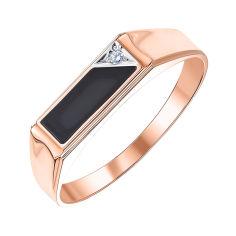 Перстень-печатка из красного золота с агатом и фианитом 000001101 000001101 18 размера от Zlato