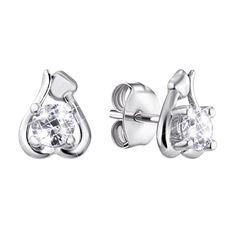 Серебряные серьги-пуссеты с цирконием 000140019 000140019 от Zlato