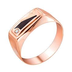 Перстень-печатка из красного золота с эмалью и цирконием 000140055 000140055 22 размера от Zlato