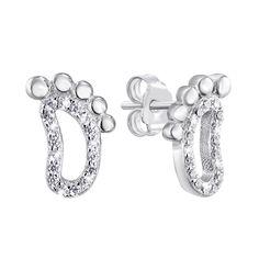 Серебряные серьги-пуссеты с цирконием 000140127 000140127 от Zlato