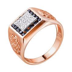 Перстень-печатка из красного золота с цирконием 000140482 000140482 19 размера от Zlato