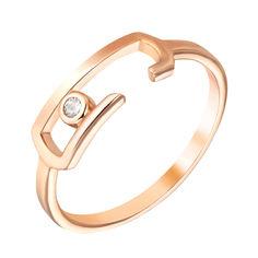 Золотое кольцо Скрепочка в красном цвете с завальцованным фианитом 000096074 000096074 17 размера от Zlato