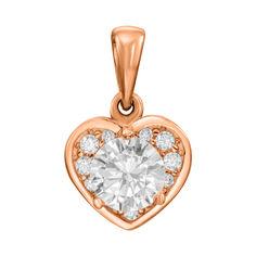 Кулон-сердце из красного золота с фианитами 000130907 000130907 от Zlato