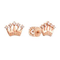 Серьги-пуссеты из красного золота с коронами и фианитами 000121543 000121543 от Zlato
