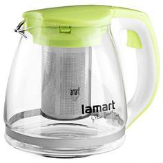 ЧайникLamart заварочныйстеклянныйс зелеными вставками 1,1л (LT7026) от MOYO