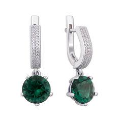 Серебряные серьги-подвески с зеленым кварцем и цирконием 000012654 000012654 от Zlato