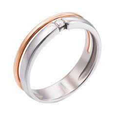 Акция на Золотое раздвоенное кольцо в комбинированном цвете с бриллиантом 000133180 000133180 15.5 размера от Zlato