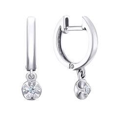 Серебряные серьги-подвески с цирконием 000138754 000138754 от Zlato