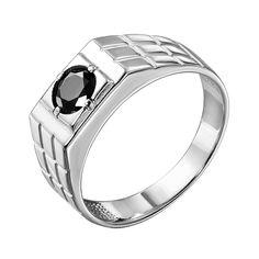 Серебряный перстень-печатка с черным фианитом 000140637 000140637 19 размера от Zlato