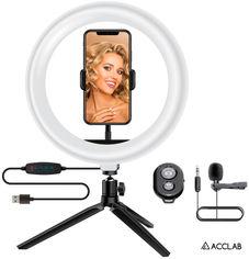 Комплект блогера 4в1 ACCLAB Ring of Light (Держатель с LED лампой, микрофон и Bluetooth управление, AL-LR101MB) (1283126502057) от Rozetka