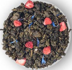 Чай зеленый листовый с кусочками клубники лепестками цветов и ароматом земляники Чайные шедевры Клубничный зефир 500 г (4820198874681) от Rozetka