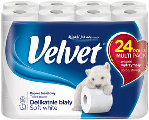 Туалетная бумага Velvet Деликатная 3 слоя 24 рулона (5901478999191) от Rozetka