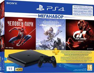 Акция на Игровая приставка PlayStation 4 1TB Slim Black в комплекте с 3 играми и подпиской PS Plus (Spider-Man + Horizon Zero Dawn + Gran Turismo Sport + PS Plus 3 месяца) от Rozetka