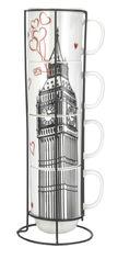 Набор чашек Limited Edition London 4х420 мл на металлической подставке B1163-09359-2 от Podushka
