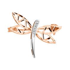 Золотая брошь в комбинированном цвете с фианитами и алмазной гранью 000124485 000124485 от Zlato