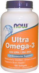 Жирные кислоты Now Foods Ультра Омега-3 180 желатиновых капсул (733739016621) от Rozetka