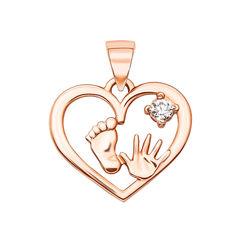 Кулон-сердце из красного золота с фианитом, ножкой и ладошкой 000125394 000125394 от Zlato