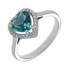Серебряное кольцо с зеленым кварцем и фианитами 000136383 000136383 17.5 размера от Zlato