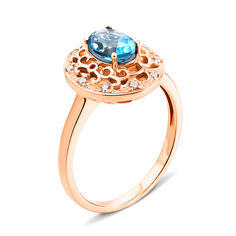 Кольцо из красного золота с голубым топазом и фианитами 000134836 000134836 17 размера от Zlato