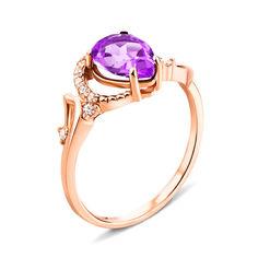 Кольцо из красного золота с аметистом и фианитами 000133918 000133918 17 размера от Zlato