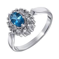 Серебряное кольцо с лондон топазом и цирконием 000136930 000136930 16 размера от Zlato