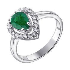 Серебряное кольцо с изумрудом и фианитами 000132703 000132703 19 размера от Zlato