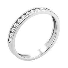 Обручальное кольцо из белого золота с фианитами и родированием 000000242 000000242 15 размера от Zlato