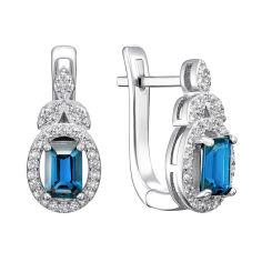 Серебряные серьги с голубым топазом и фианитами 000117835 000117835 от Zlato