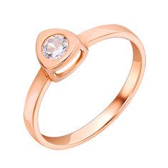 Золотое кольцо Полина в красном цвете с кристаллом циркония 000080782 17 размера от Zlato