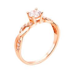 Золотое помолвочное кольцо Августа с косичкой на шинке и фианитами 000095137 16.5 размера от Zlato