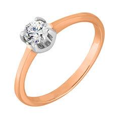 Кольцо из красного и белого золота Камелия с фианитом 000103761 17 размера от Zlato