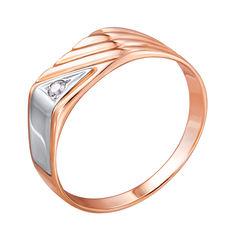 Золотой перстень-печатка с цирконием 000104019 000104019 18.5 размера от Zlato