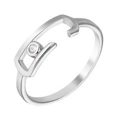 Кольцо из белого золота с завальцованным фианитом 000103948 000103948 16.5 размера от Zlato