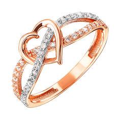 Кольцо из красного золота с фианитами и родированием 000127996 000127996 16.5 размера от Zlato