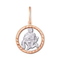 Золотой кулон Водолей в комбинированном цвете с алмазной гранью 000126426 000126426 от Zlato